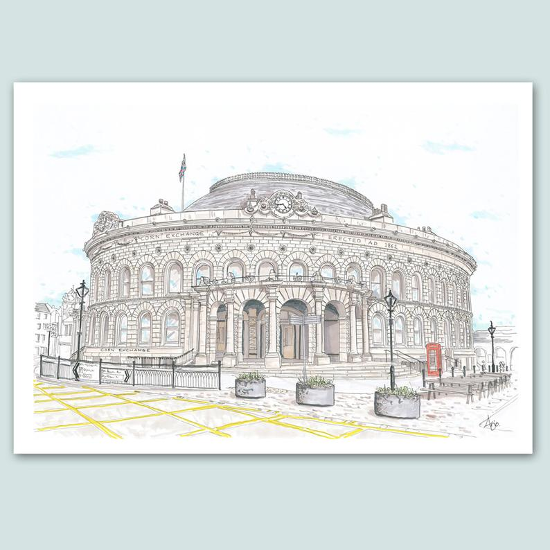Leeds Corn Exchange Illustration - A4 print - Art by Arjo - Leeds artwork