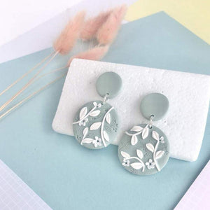 Mint Green leaf print handrolled Circle Earrings - Polymer clay - Laura Fernandez Designs