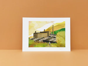 Marsden Moor and Mill - Illustrator Kate - A4 print - Yorkshire gifts