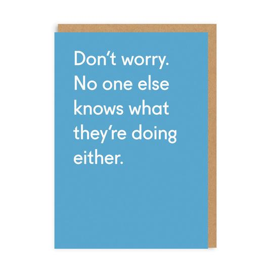 No one else knows what they're doing either - greetings card - birthdays - straight talking cards