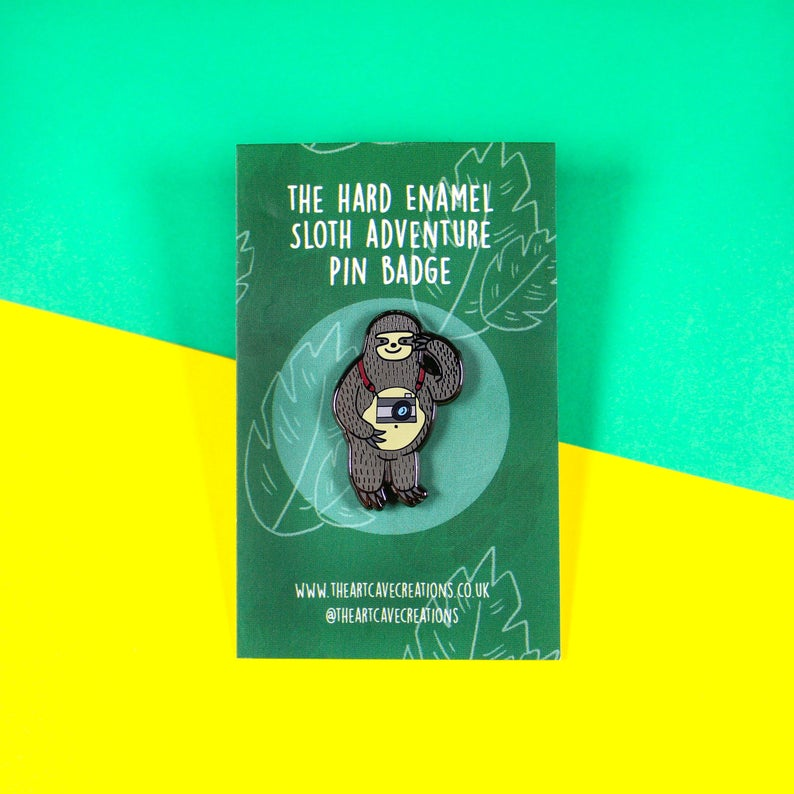 Sloth enamel pin - Sloth adventurer - Bronte Laura Illustration