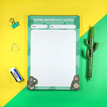 Load image into Gallery viewer, A5 tear off notepad - Super Important Notes - Sloths - Bronte Laura Illustration