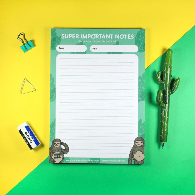 A5 tear off notepad - Super Important Notes - Sloths - Bronte Laura Illustration