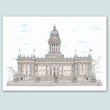 Load image into Gallery viewer, Leeds Town Hall Illustration - A4 print - Art by Arjo - Leeds artwork