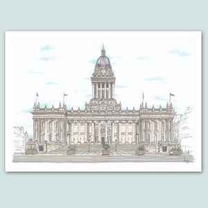 Leeds Town Hall Illustration - A4 print - Art by Arjo - Leeds artwork