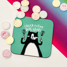 Load image into Gallery viewer, Check out my Whiskers coaster - Katie Abey - Cats - Puns