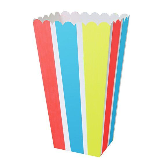 Rainbow Striped Popcorn Box- 8 pack