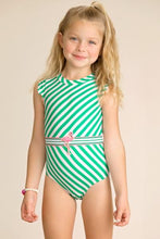 Load image into Gallery viewer, Striped Belted Swimsuit