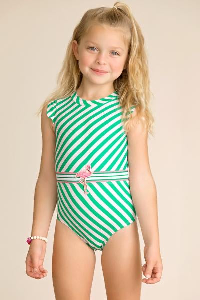 Striped Belted Swimsuit