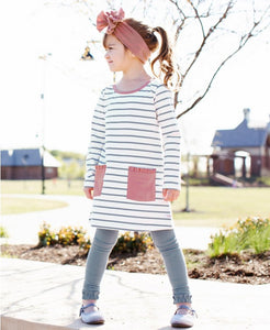 Slate and Ivory Striped Dress