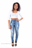 Medium Wash Distressed Perfect Fit Skinny Denim Jeans