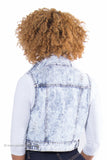 Acid Wash Crop Distressed Denim Vest