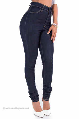 Dark Indigo High Waist Perfect Fit Stretch Skinny Denim Jeans
