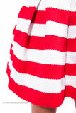 Striped Knit Flare Bandage Skirt