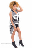 """Flyaway"" Striped Sleeveless Cardigan (Black)"