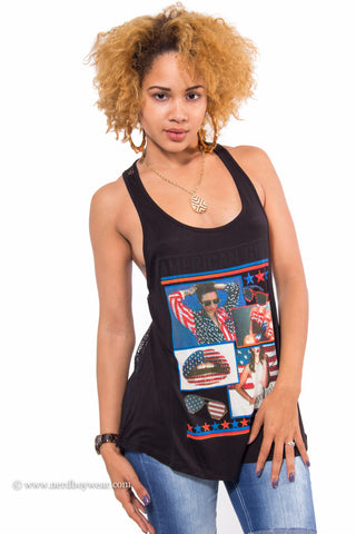 """American Girl"" American Flag Netted Tank Top (Black)"