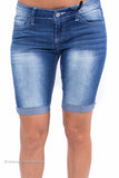 "Cuffed Stretch Medium Denim Bermuda Shorts ""Perfect Fit"""