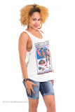 """American Girl"" American Flag Netted Tank Top (White)"