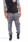 Acid Wash Denim Joggers (Black)