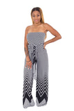 Strapless Black and White Chevron Floor Length Jumpsuit