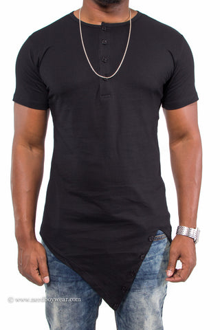 """Get Fit"" Asymmetrical Hem Fitted Extended Shirt (Black)"