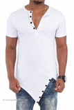 """Get Fit"" Asymmetrical Hem Fitted Extended Shirt (White)"