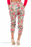 Floral Denim Stretch Joggers (Khaki)