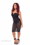 """Attention Grabber"" Lace Bodysuit Sheer Bottom Bodycon Dress"