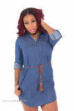 Denim Button Up Dress with pockets