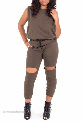 Slit Wide Open Jumpsuit (Olive)