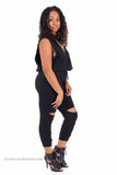 Slit Wide Open Jumpsuit (Black)