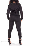 Scuba Perfect Fit Quilted Trim Hooded Sweatsuit (Black)
