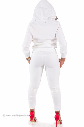 Scuba Perfect Fit Quilted Trim Hooded Sweatsuit (White)