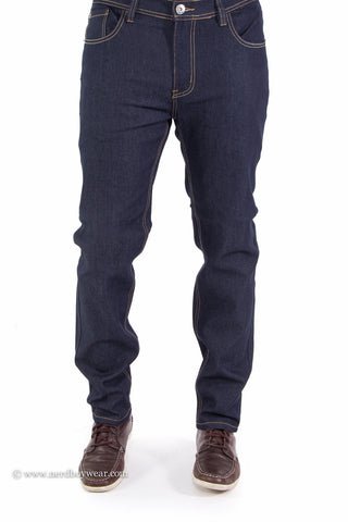 Raw Indigo Flex Stretch Slim Fit Denim Jeans (Blue)