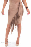 Fringe Perfect Fit Knee Length Skirt (Camel)
