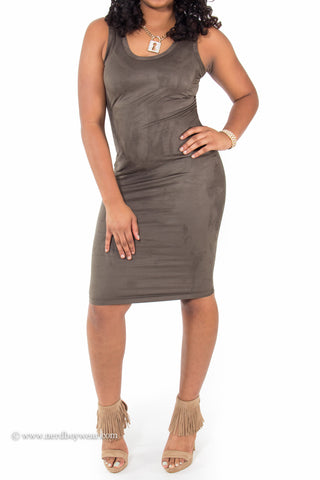 Suede Perfect Fit Bodycon Midi Dress (Olive)