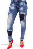Patchwork Perfect Fit Distressed Stretch Denim Jeans