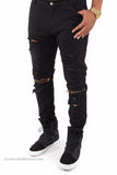 Distressed Slim Fit Zipper Knee Flex Stretch Denim Jeans