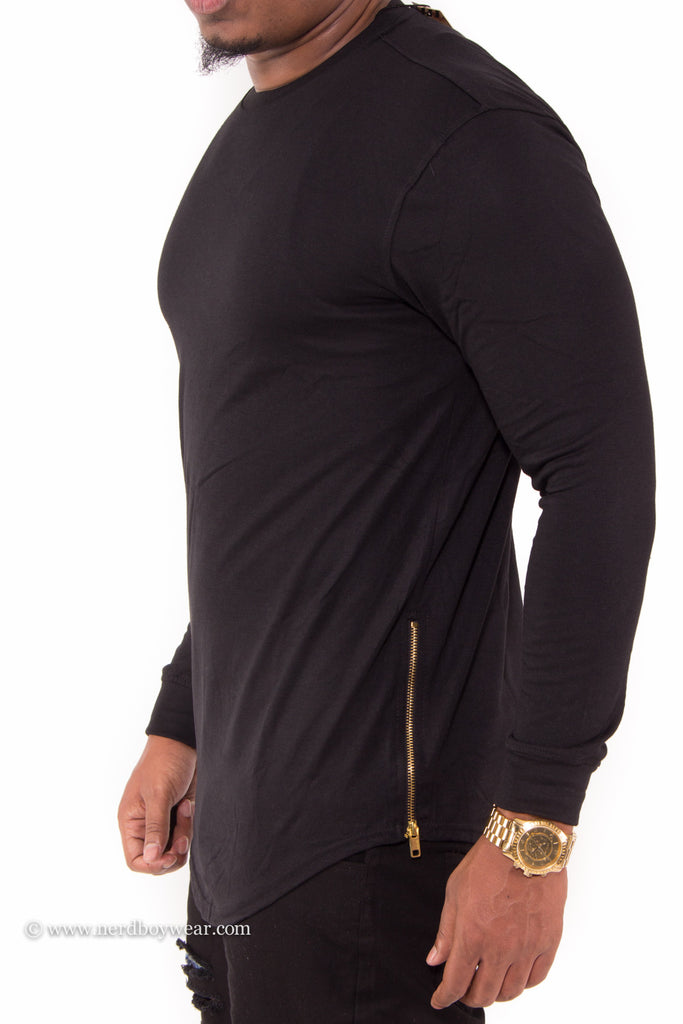 ee5aa6d0534 Solid Color Long Sleeve Extended Tee with Zipper Sides – Nerdboy Wear