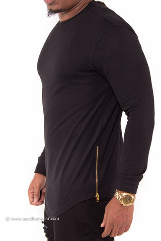 Solid Color Long Sleeve Extended Tee with Zipper Sides