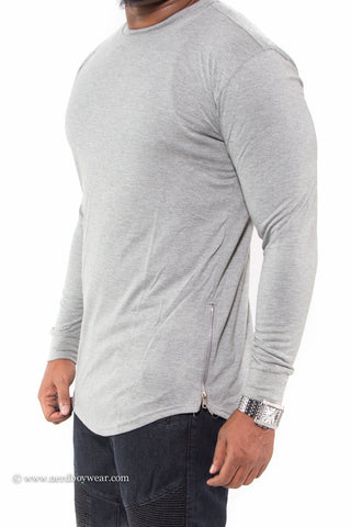 535fe8c2 Solid Color Long Sleeve Extended Tee with Zipper Sides – Nerdboy Wear