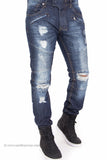 Biker Denim Slim Fit Distressed Ripped Jeans