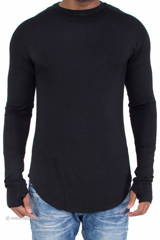 """Thumb Hole"" Long Sleeve Zipper Side Extended Shirt"