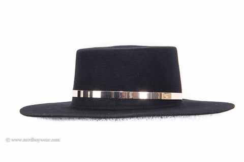 """Future"" Stiff Wide Brim Flat Top Fedora with Gold Trim"