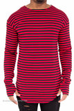 """Thumb Hole"" Striped Long Sleeve Extended Shirt (Red)"