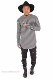"""Thumb Hole"" Striped Long Sleeve Extended Shirt (Grey)"
