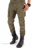 Distressed Cargo Slim Fit Stretch Denim Jeans (Olive Green)