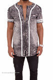 Acid Wash Distressed Denim Baseball Jersey w/ Zipper Front
