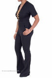 """Retro"" Stretch Denim Flare Bottom Jumpsuit"
