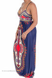 Dashiki Print Maxi Dress (Navy)